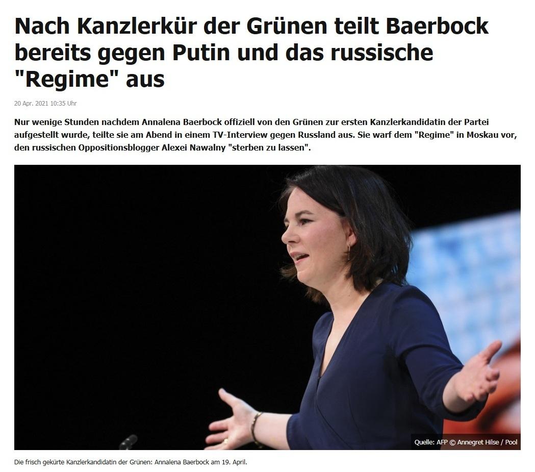 Nach Kanzlerkür der Grünen teilt Baerbock bereits gegen Putin und das russische 'Regime' aus -  RT DE -  20 Apr. 2021 10:35 Uhr