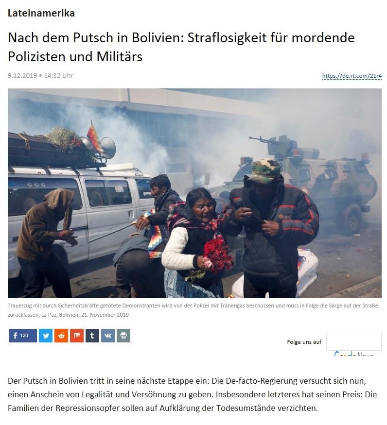 Lateinamerika - Nach dem Putsch in Bolivien: Straflosigkeit für mordende Polizisten und Militärs