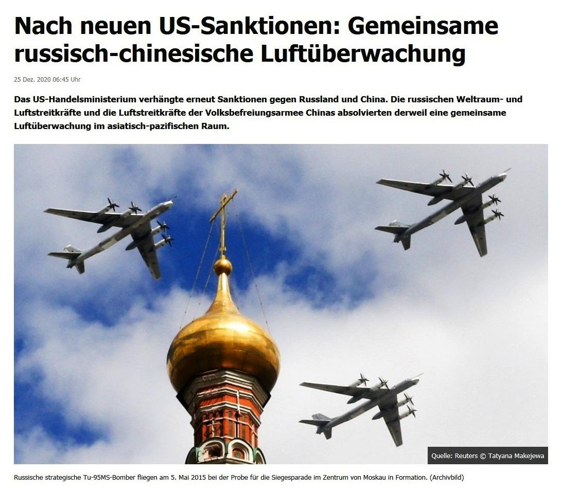Nach neuen US-Sanktionen: Gemeinsame russisch-chinesische Luftüberwachung - RT DE - 25 Dez. 2020 06:45 Uhr