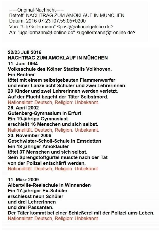 Aus dem Posteingang von Rationalgalerie.de - Nachtrag zum Amoklauf in München - Beitrag von Uli Gellermann, Rationalgalerie.de