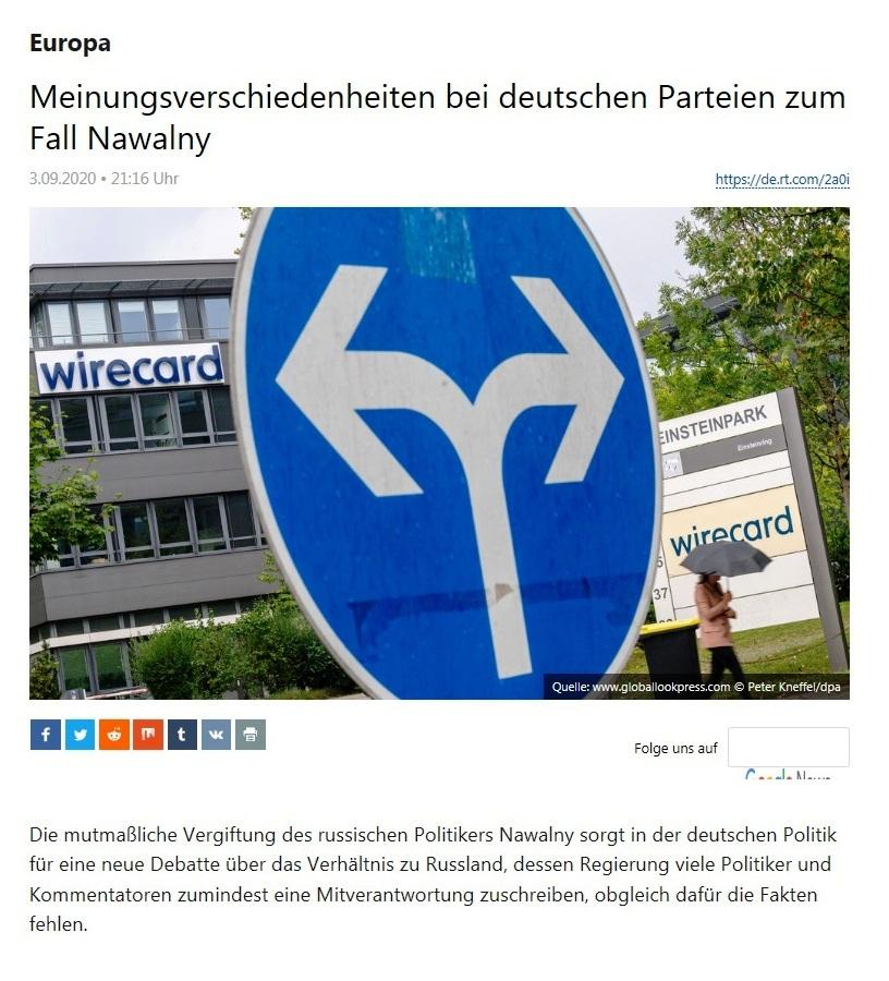 Europa - Meinungsverschiedenheiten bei deutschen Parteien zum Fall Nawalny - RT Deutsch - 03.09.2020