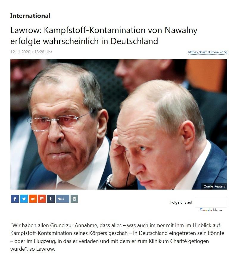 International - Lawrow: Kampfstoff-Kontamination von Nawalny erfolgte wahrscheinlich in Deutschland - RT Deutsch - 12.11.2020