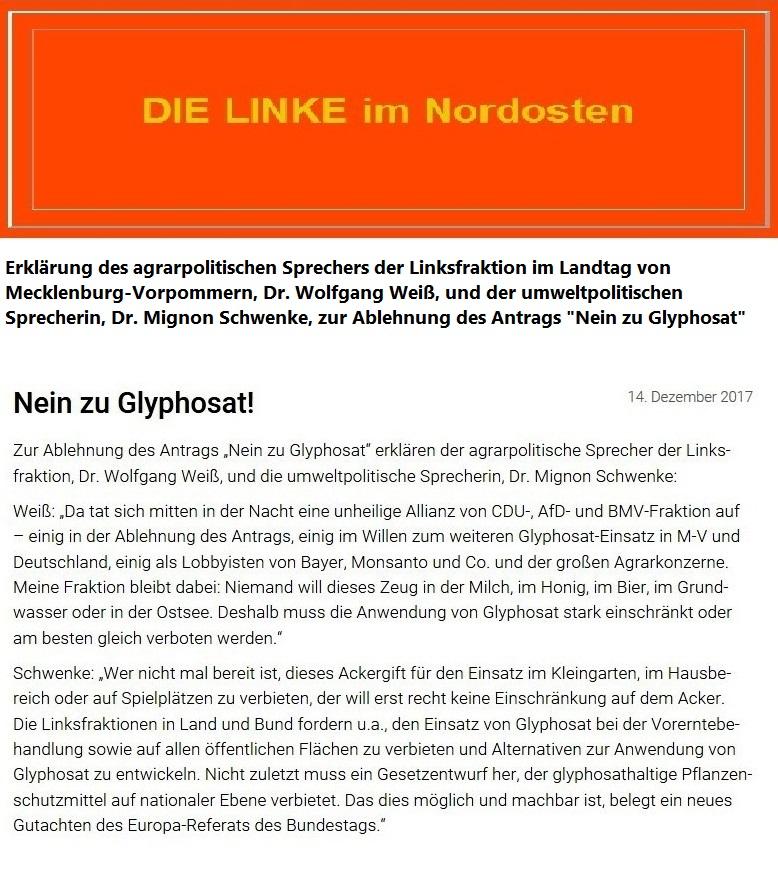 Erklärung des agrarpolitischen Sprechers der Linksfraktion, Dr. Wolfgang Weiß, und der umweltpolitischen Sprecherin, Dr. Mignon Schwenke,  zur Ablehnung des Antrags 'Nein zu Glyphosat' vom 14.Dezember 2017
