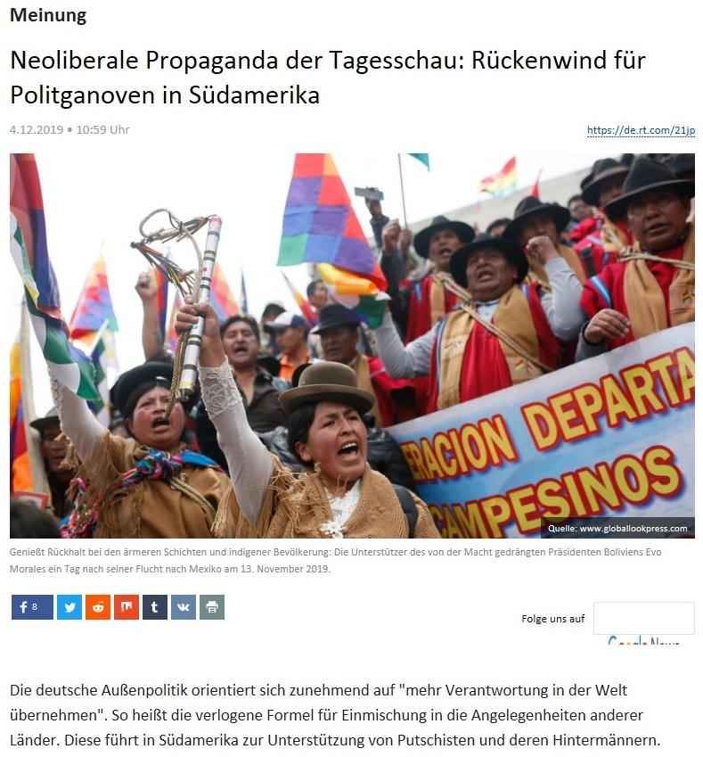 Meinung - Neoliberale Propaganda der Tagesschau: Rückenwind für Politganoven in Südamerika