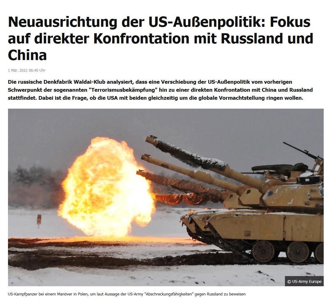 Neuausrichtung der US-Außenpolitik: Fokus auf direkter Konfrontation mit Russland und China - RT DE - 1 Mär. 2021 06:45 Uhr