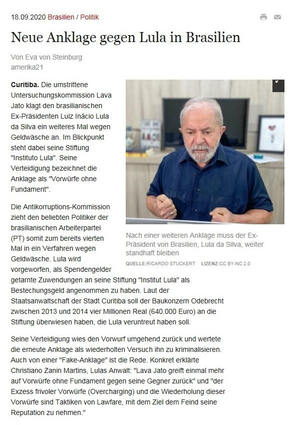 Neue Anklage gegen Lula in Brasilien - amerika21 - Nachrichten und Analysen aus Lateinamerika - 18.09.2020
