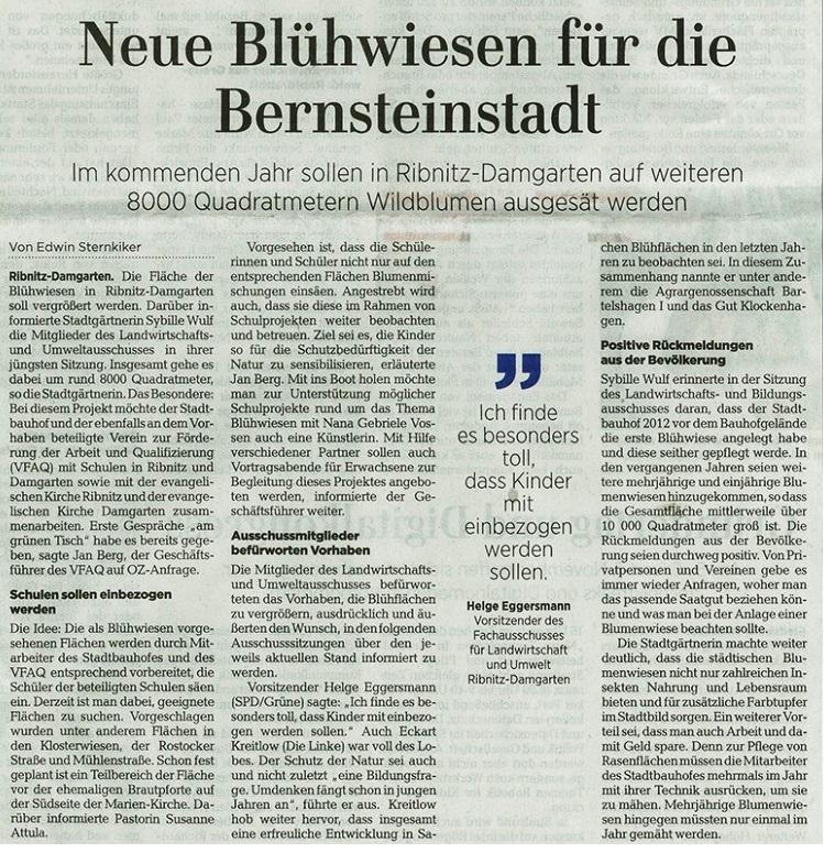 OZ-Beitrag vom 05.11.2019 - Ostsee-Zeitung Ribnitz-Damgarten - Dienstag, 05.11.2019 | Seite 9 - Neue Blühwiesen für die Bernsteinstadt