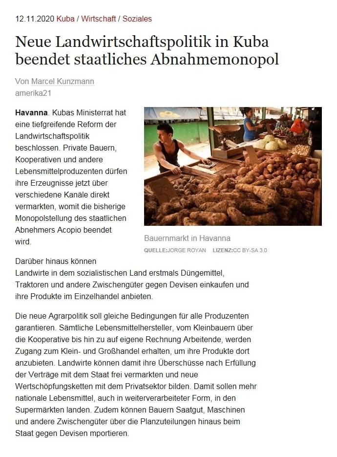 Neue Landwirtschaftspolitik in Kuba beendet staatliches Abnahmemonopol - Von Marcel Kunzmann - amerika21 - Nachrichten und Analysen aus Lateinamerika - 09.11.2020