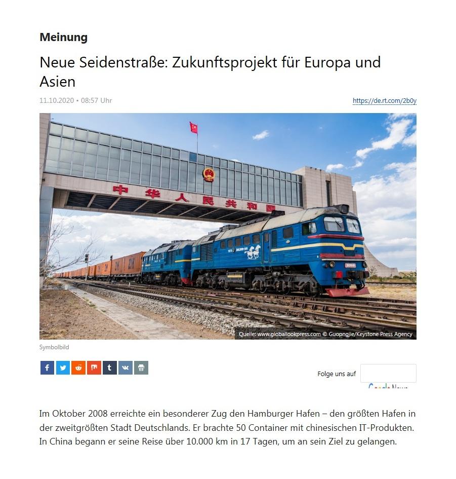 Meinung - Neue Seidenstraße: Zukunftsprojekt für Europa und Asien - RT Deutsch - 11.10.2020