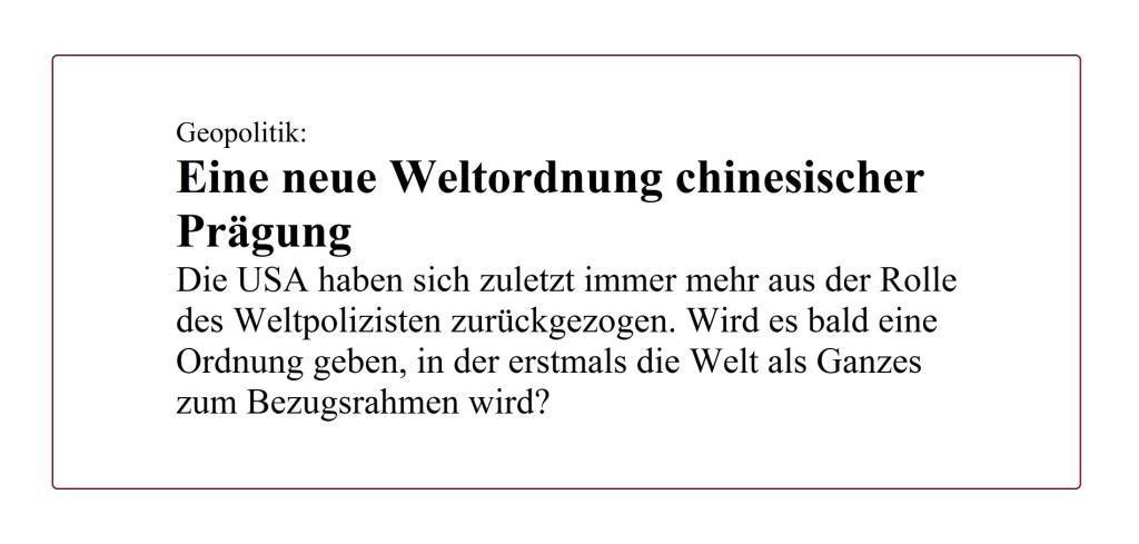 Geopolitik: Eine neue Weltordnung chinesischer Prägung - Berliner Zeitung - 15.08.2020