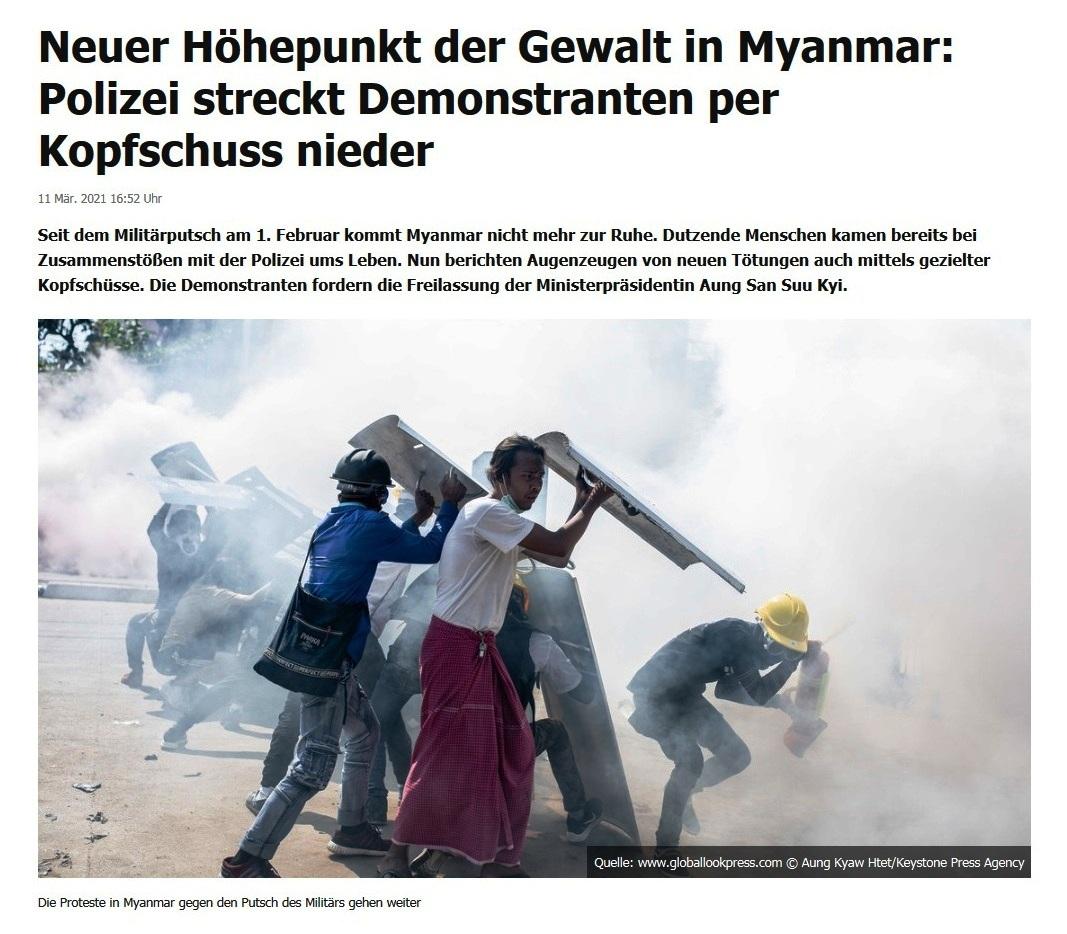 Neuer Höhepunkt der Gewalt in Myanmar: Polizei streckt Demonstranten per Kopfschuss nieder - RT DE - 11 Mär. 2021 16:52 Uhr