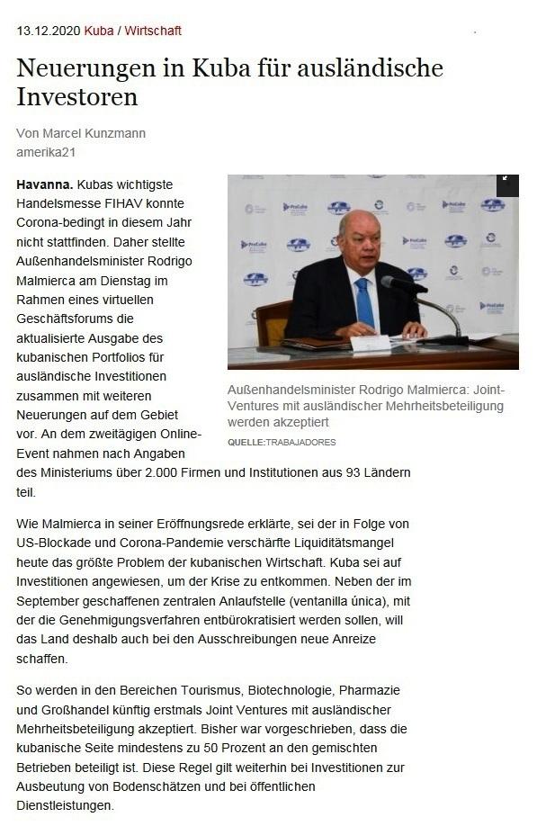 Neuerungen in Kuba für ausländische Investoren - Von Marcel Kunzmann - amerika21 - Nachrichten und Analysen aus Lateinamerika - 13.12.2020