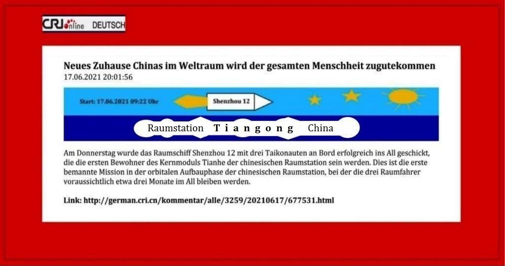 Neues Zuhause Chinas im Weltraum wird der gesamten Menschheit zugutekommen - CRI online Deutsch - 17.06.2021 20:01:56 - Link: http://german.cri.cn/kommentar/alle/3259/20210617/677531.html