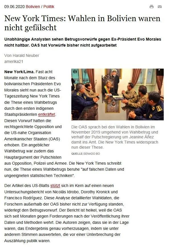 New York Times: Wahlen in Bolivien waren nicht gefälscht - Unabhängige Analysten sehen Betrugsvorwürfe gegen Ex-Präsident Evo Morales nicht haltbar. OAS hat Vorwürfe bisher nicht aufgearbeitet - amerika21 - Nachrichten und Analysen aus Lateinamerika - 09.06.2020