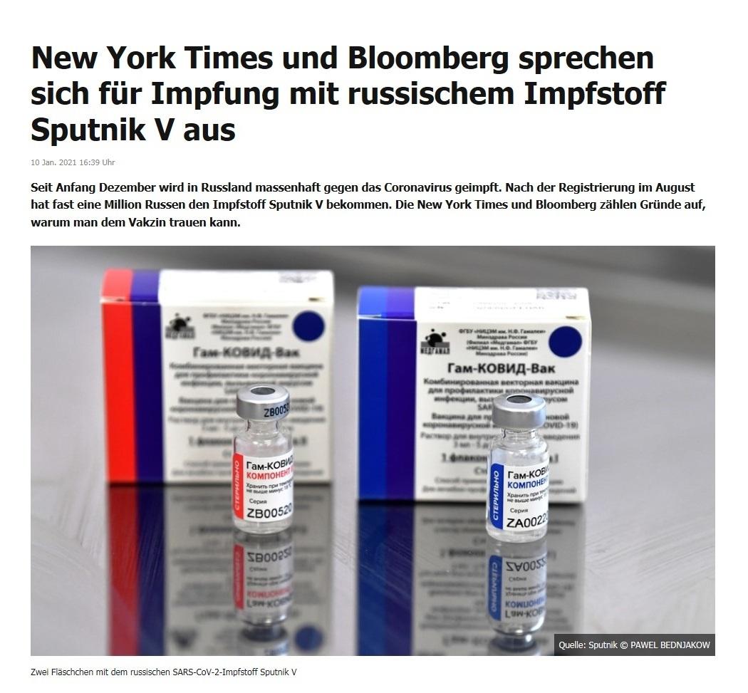 New York Times und Bloomberg sprechen sich für Impfung mit russischem Impfstoff Sputnik V aus - RT DE - 10 Jan. 2021 16:39 Uhr