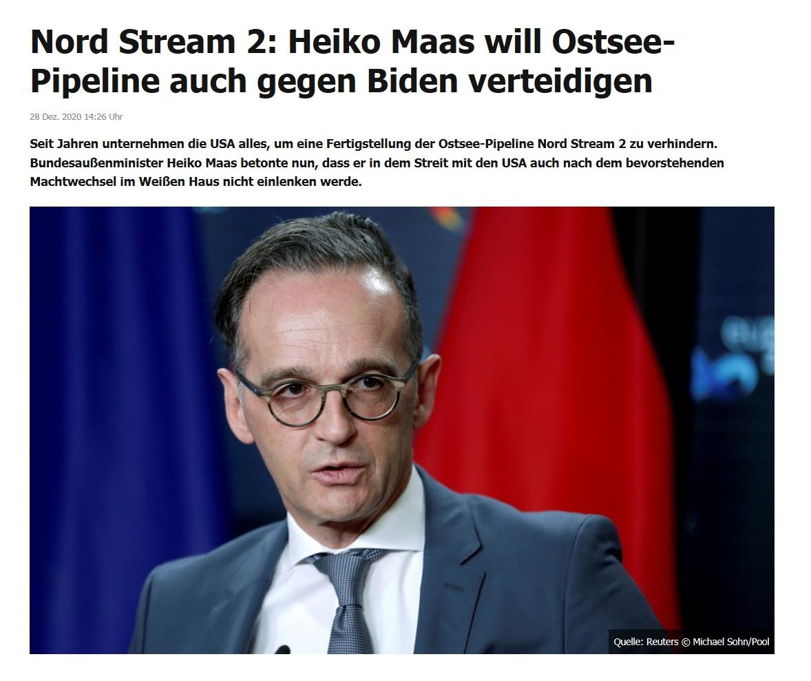 Nord Stream 2: Heiko Maas will Ostsee-Pipeline auch gegen Biden verteidigen - RT DE - 28 Dez. 2020 14:26 Uhr