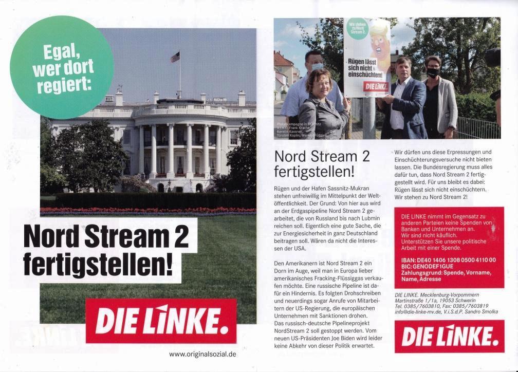 Aus dem Posteingang - Egal, wer dort regiert: Nord Stream 2 fertigstellen! - DIE LINKE - wwww.originalsozial.de