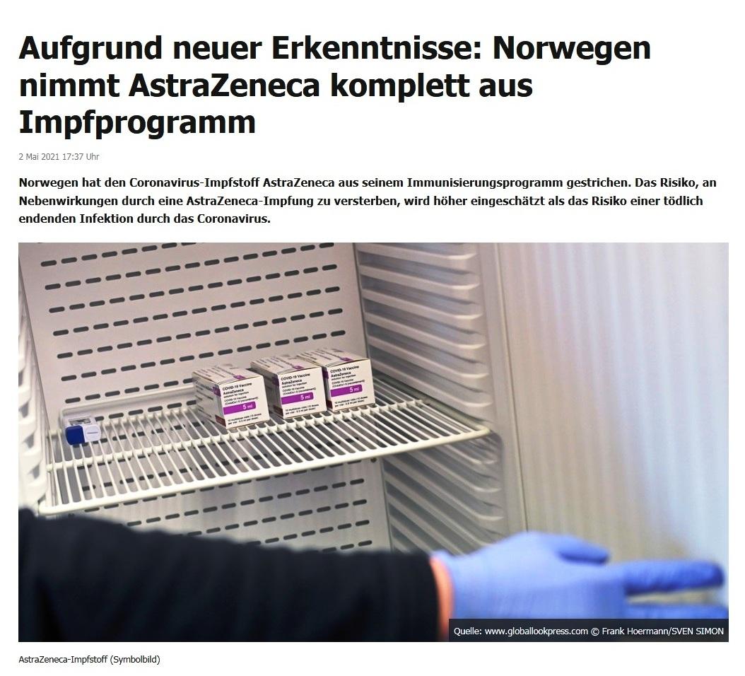 Aufgrund neuer Erkenntnisse: Norwegen nimmt AstraZeneca komplett aus Impfprogramm -  RT DE - 2 Mai 2021 17:37 Uhr