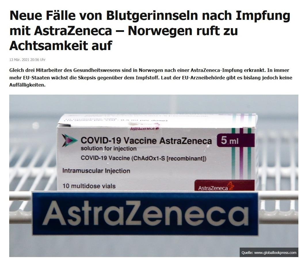Neue Fälle von Blutgerinnseln nach Impfung mit AstraZeneca – Norwegen ruft zu Achtsamkeit auf - RT DE - 13 Mär. 2021 20:56 Uhr