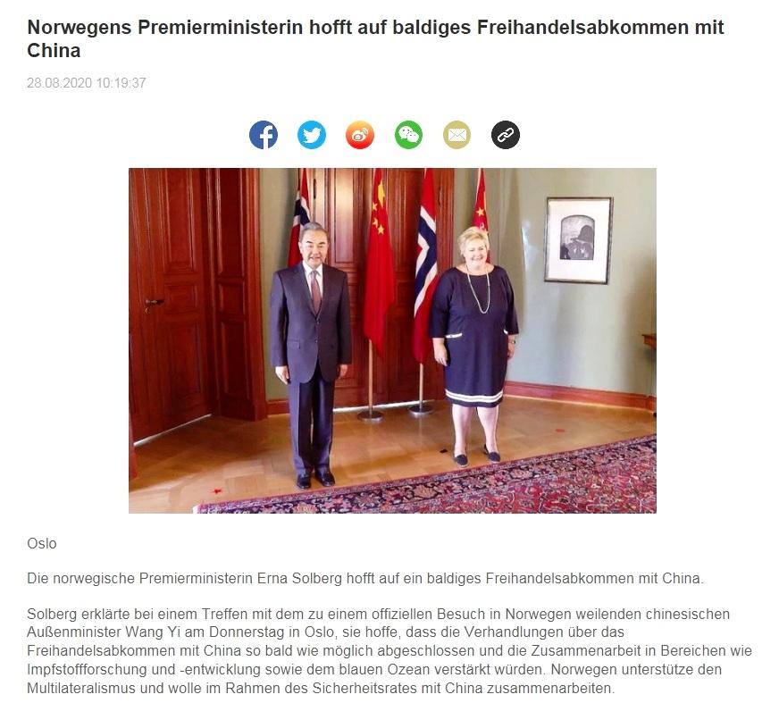 Norwegens Premierministerin hofft auf baldiges Freihandelsabkommen mit China - CRI online Deutsch - 28.08.2020