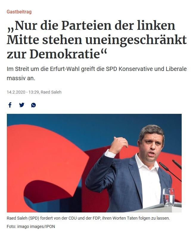 'Nur die Parteien der linken Mitte stehen uneingeschränkt zur Demokratie' - Im Streit um die Erfurt-Wahl greift die SPD Konservative und Liberale massiv an - Berliner Zeitung - 14.02. 2020