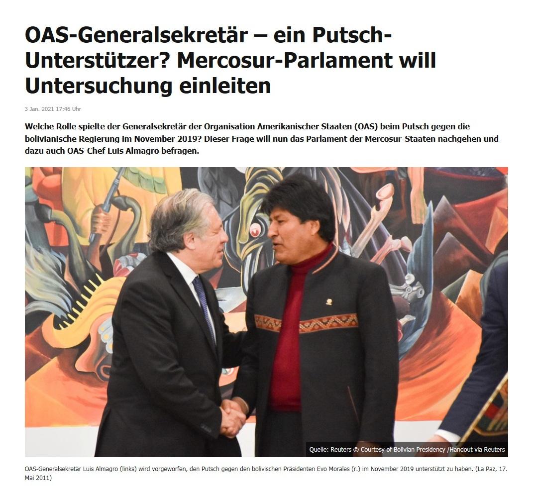OAS-Generalsekretär – ein Putsch-Unterstützer? Mercosur-Parlament will Untersuchung einleiten - RT DE - 3 Jan. 2021 17:46 Uhr