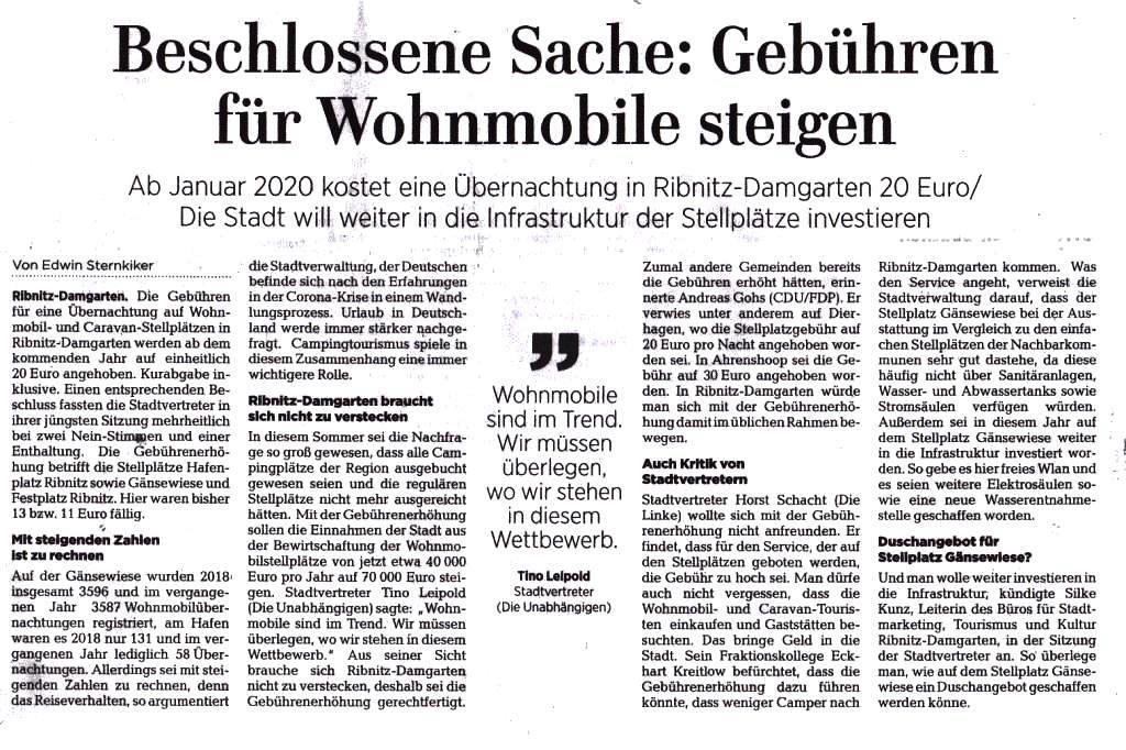 OZ-Beitrag Mittwoch, 26.August 2020 | Seite 9 - Ostsee-Zeitung Ribnitz-Damgarten - Beschlossene Sache: Gebühren für Wohnmobile steigen - Von Dr. Edwin Sternkiker