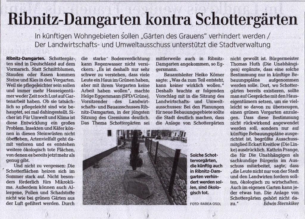OZ-Beitrag Mittwoch, 30. September 2020 | Seite 9 - Ostsee-Zeitung Ribnitz-Damgarten - Ribnitz-Damgarten kontra Schottergärten - Von Dr. Edwin Sternkiker