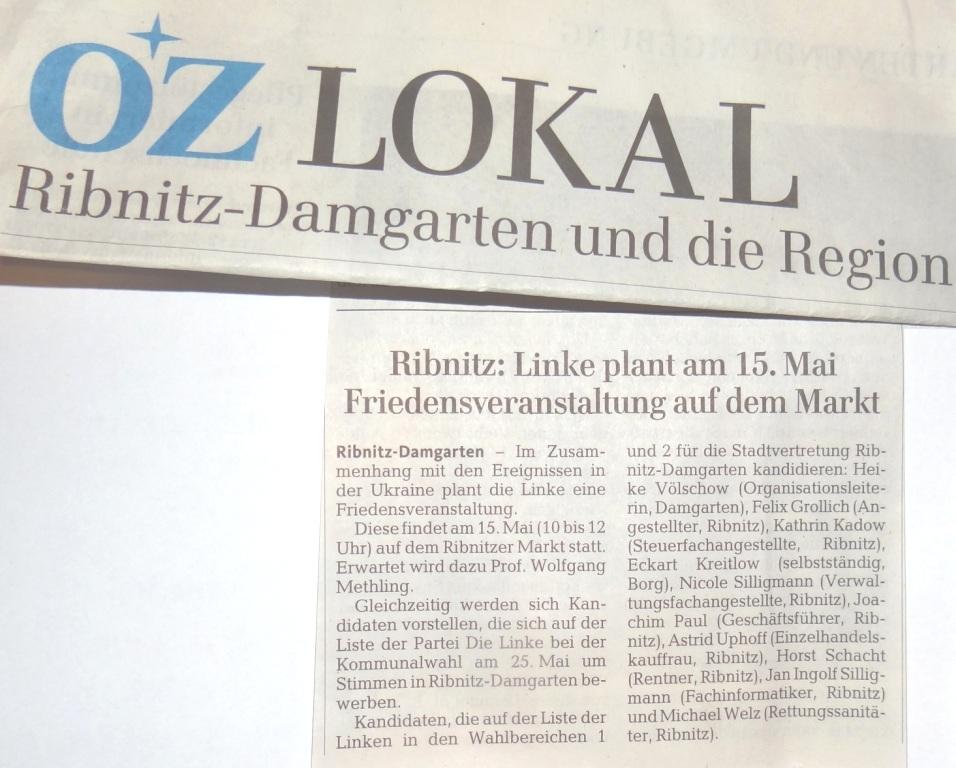 Auch die OZ informierte in ihrer Wochenendausgabe vom 10./ 11.05.2014 über die geplante Friedensveranstaltung mit Professor Dr. Wolfgang Methling auf dem Ribnitzer Marktplatz am Donnerstag, dem 15.Mai 2014, von 10.00 Uhr bis 12.00 Uhr. Foto: Eckart Kreitlow
