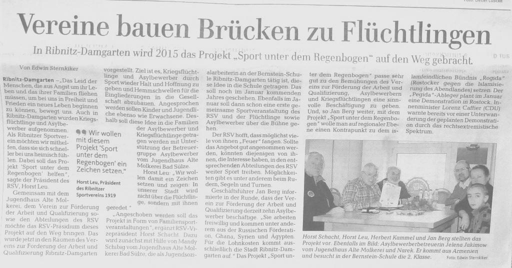 Beitrag auf der Regionalseite der Ostsee-Zeitung am 23.Dezember 2014 zum 2015 vom Ribnitzer Sportverein 1919 e. V. geplanten Projekt Sport unter dem Regenbogen.