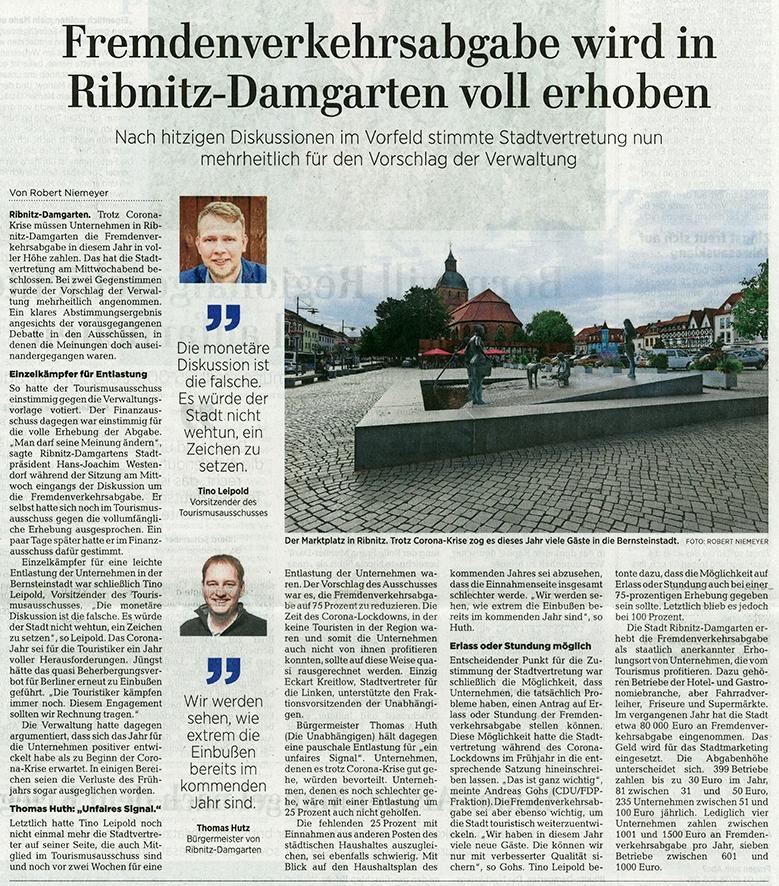 OZ-Beitrag Freitag, 16. Oktober 2020 | Seite 11 - Ostsee-Zeitung Ribnitz-Damgarten - Fremdenverkehrsabgabe wird in Ribnitz-Damgarten voll erhoben - Von Robert Niemeyer