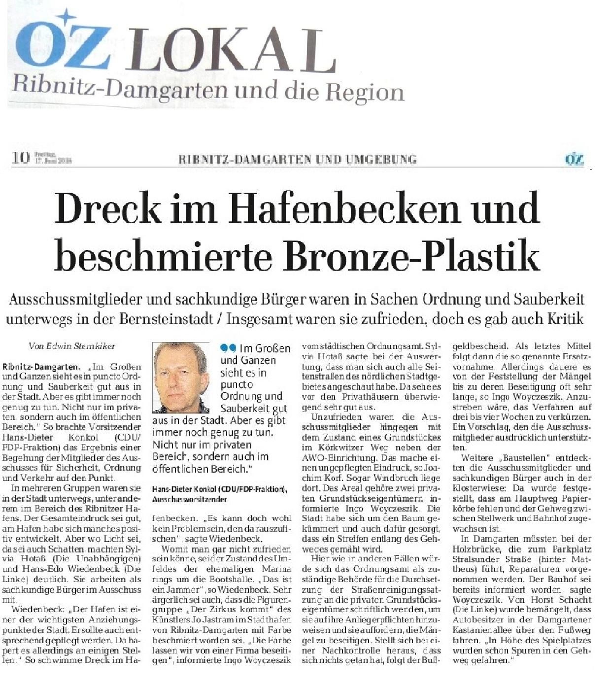 Aus OZ Lokal Ribnitz-Damgarten und die Region vom 17.06.2016 - OZ-Beitrag Dreck im Hafenbecken und beschmierte Bronze-Plastik - Von Edwin Sternkiker