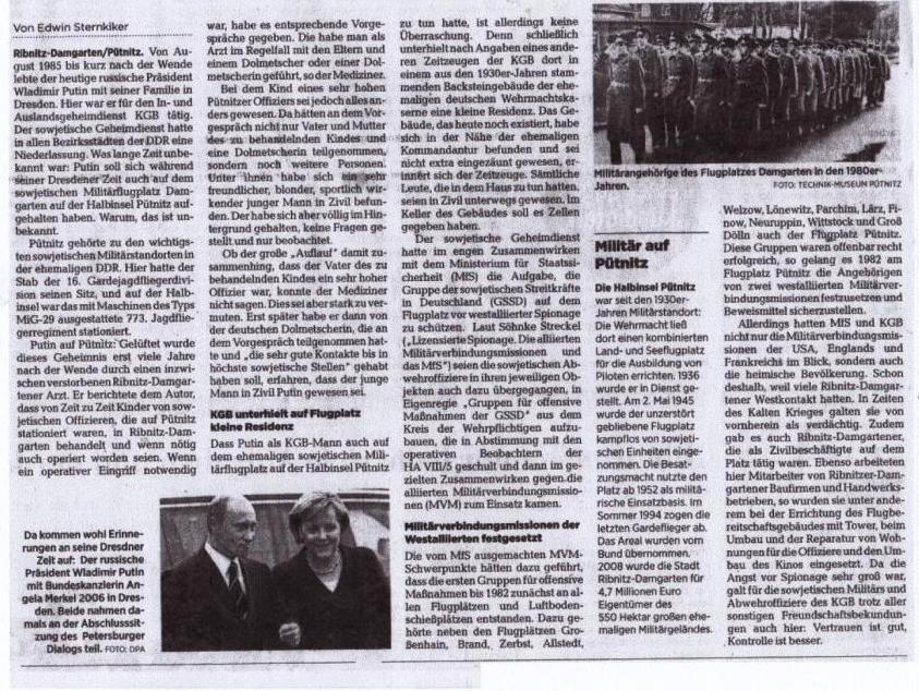 Unterwegs in geheimer Mission: Als Putin auf Pütnitz war - Von Dr. Edwin Sternkiker - Ostsee-Zeitung - Ribnitz-Damgartener Ausgabe - Sonnabend/Sonntag, 9./10. Januar 2021 | Seite 11