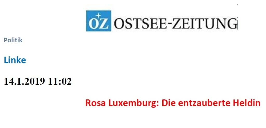 OZ-Beitrag zum 100. Todestag von Rosa Luxemburg und Karl Liebknecht 'Die entzauberte Heldin'