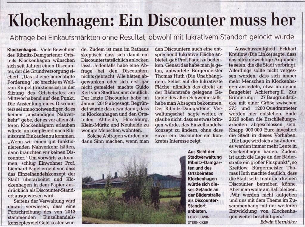 OZ-Beitrag Freitag, 7. August 2020 | Seite 11 - Ostsee-Zeitung Ribnitz-Damgarten - Klockenhagen: Ein Discounter muss her - Von Dr. Edwin Sternkiker