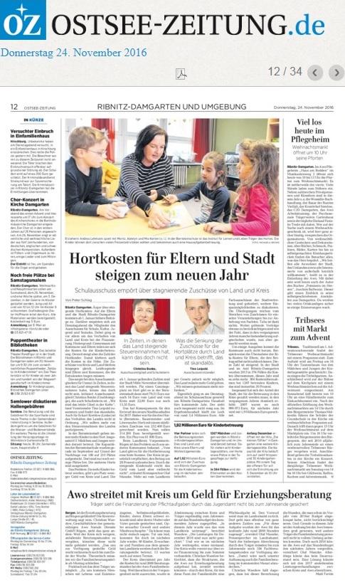Hortkosten für Eltern und Stadt steigen zum neuen Jahr | Schulausschuss empört über stagnierende Zuschüsse von Land und Kreis | Ostsee-Zeitung Lokal Ribnitz-Damgarten und die Region vom 24. November 2016, Seite 12