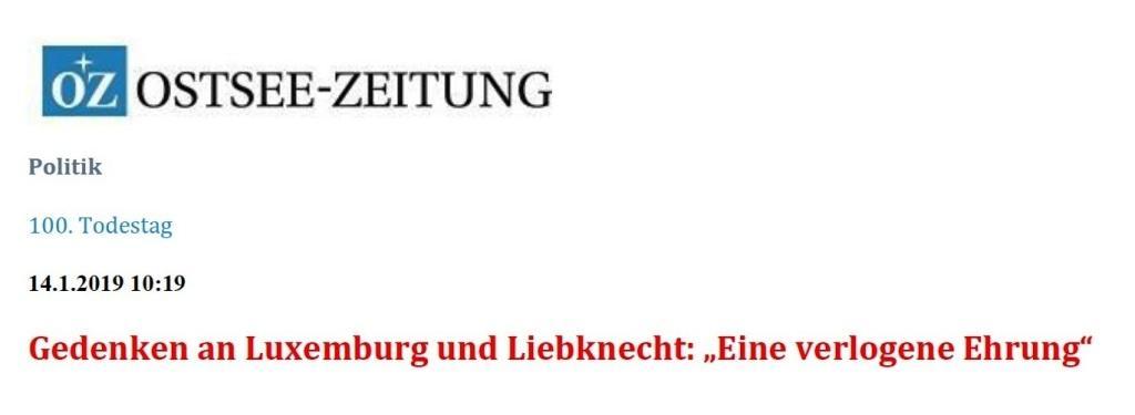 OZ-Beitrag zum 100. Todestag von Rosa Luxemburg und Karl Liebknecht 'Eine verlogene Ehrung'