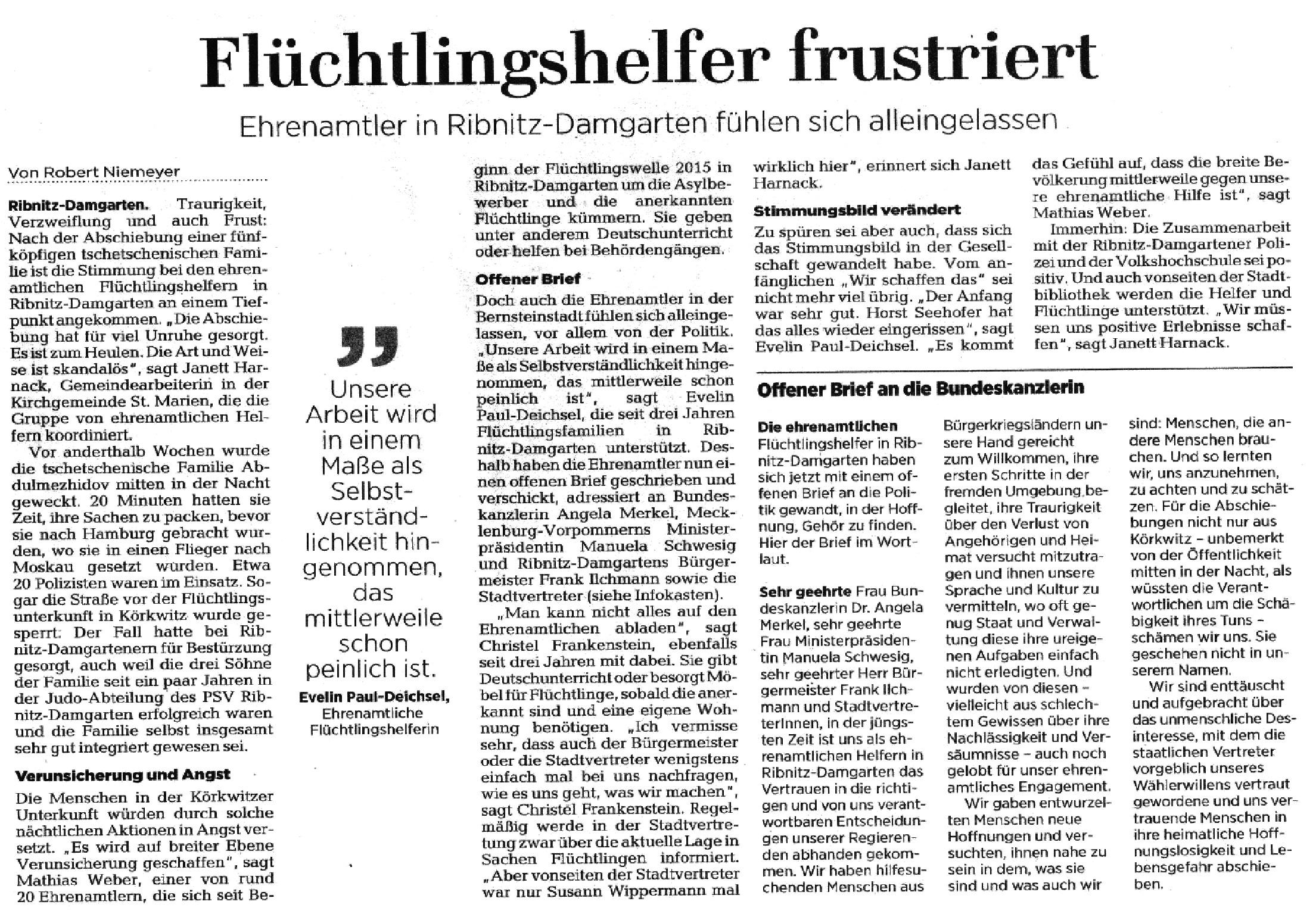 Flüchtlingshelfer frustiert - Ehrenamtler in Ribnitz-Damgarten fühlen sich alleingelassen - Beitrag veröffentlicht in der Ostsee-Zeitung - Ribnitz-Damgartener Ausgabe - Seite 11 - Sonnabend/Sonntag, 18./19. August 2018