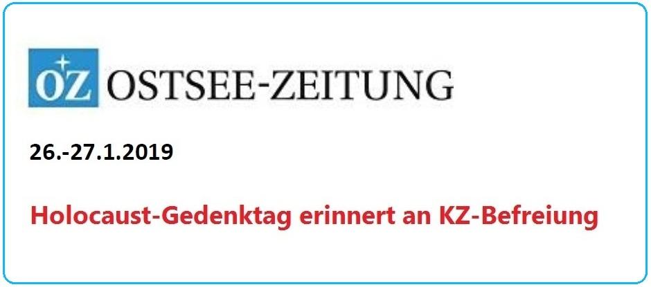 Ostsee-Zeitung - Holocaust-Gedenktag erinnert an KZ-Befreiung - OZ-Beitrag vom 26.-27.1.2019