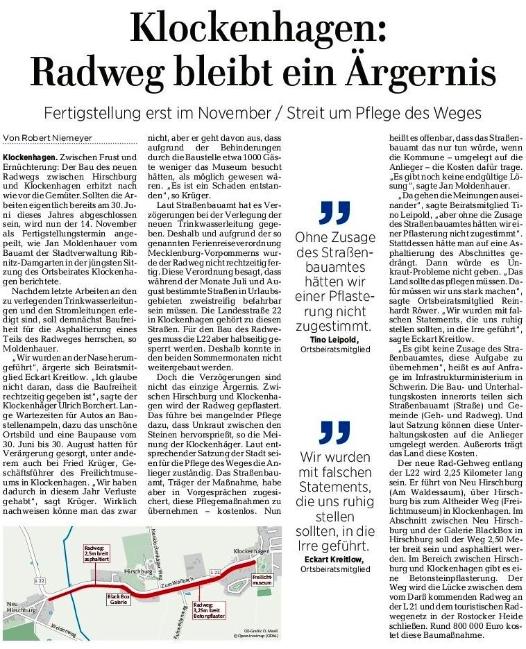 Die Ostsee-Zeitung veröffentlichte von der Ortsbeiratssitzung Klockenhagen am 4. Oktober 2017 in ihrer Ribnitz-Damgartener Ausgabe am 13. Oktober 2017 auf Seite 11  unter der Überschrift 'Klockenhagen: Radweg bleibt ein Ärgernis'  einen Beitrag.