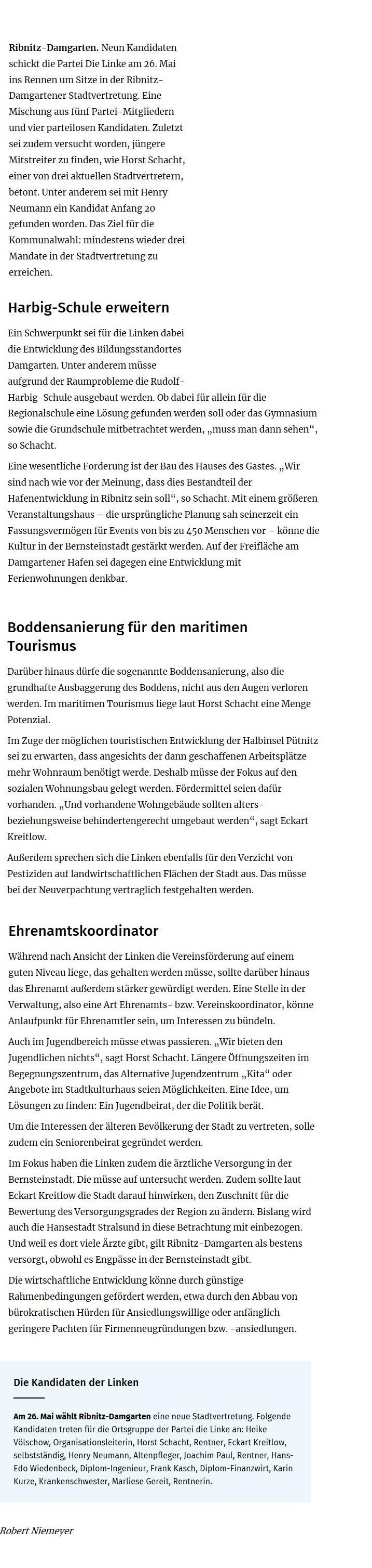 Ostsee-Zeitung-Beitrag vom 13. Mai 2019 / Kommunalwahl 2019 in  Ribnitz-Damgarten, Landkreis Vorpommern-Rügen  /  Kommunalwahl 2019 - 16:12 Uhr  /  13.05.2019 / Die Linke hält an Haus des Gastes fest