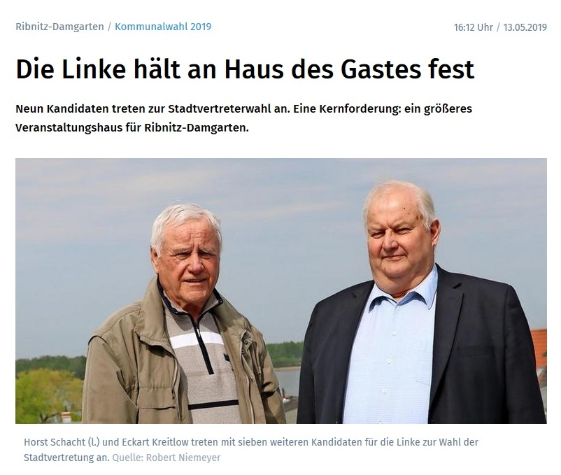 Ostsee-Zeitung-Beitrag vom 13. Mai 2019 / Kommunalwahl 2019 in  Ribnitz-Damgarten, Landkreis Vorpommern-Rügen  /  Kommunalwahl 2019 / Horst Schacht (l.) und Eckart Kreitlow treten mit sieben weiteren Kandidaten für die Linke zur Wahl der Stadtvertretung an. Quelle: Robert Niemeyer
