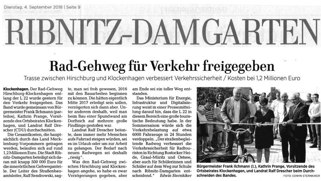 OZ-Beitrag 'Rad-Gehweg für Verkehr freigegeben'  - veröffentlicht in der Ostsee-Zeitung - Ribnitz-Damgartener Ausgabe - Seite 9 - Dienstag, 4. September 2018
