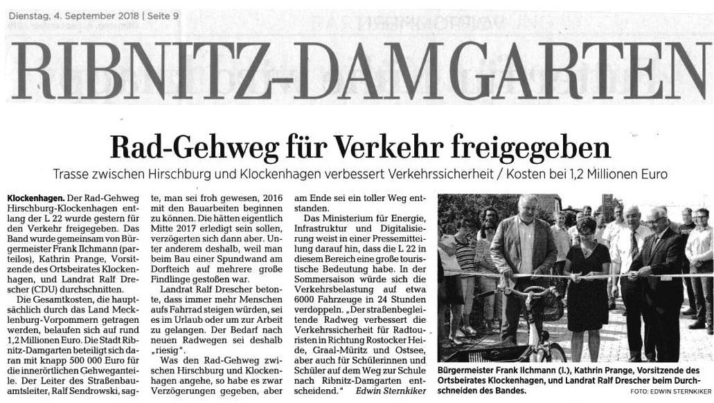 OZ-Beitrag 'Rad-Gehweg für Verkehr freigegeben'  - veröffentlicht in der Ostsee-Zeitung - Ribnitz-Damgartener Ausgabe - Seite 9 - Dienstag, 4. September 2018