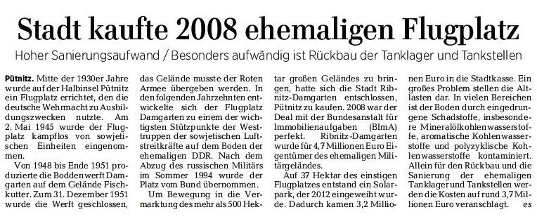 Beitrag der Ostsee-Zeitung Ribnitz-Damgarten zur Nutzung der Halbinsel Pütnitz - 29. Mai 2017 - Seite 9