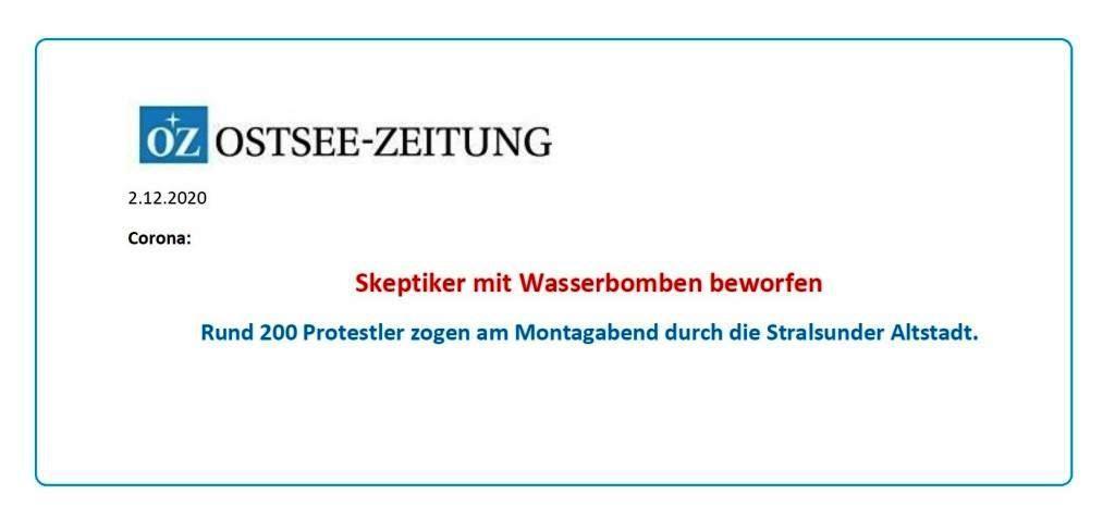 Aus dem Posteingang von Siegfried Dienel vom 04.12.2020 - OZ-Beitrag vom 02.12.2020 Corona-Skeptiker mit Wasserbomben beworfen