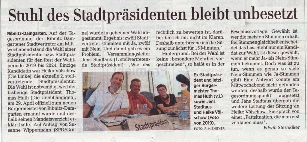 Ribnitz-Damgartener Etat ist unter Dach und Fach - Beitrag von der 7. Sitzung der Stadtvertretung Ribnitz-Damgarten -  Ostsee-Zeitung Ribnitz-Damgarten vom 15.05.2020 | Seite 11 - Von Dr. Edwin Sternkiker