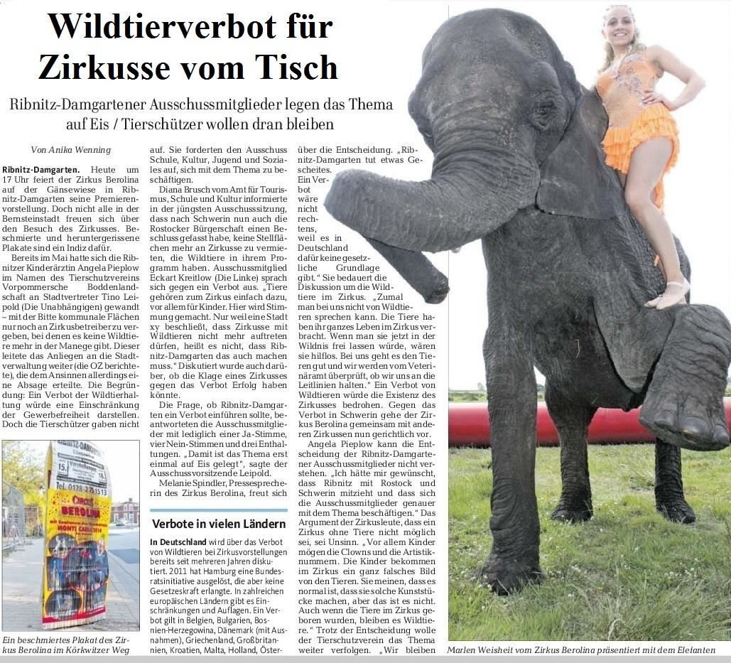 Aus OZ Lokal Ribnitz-Damgarten und die Region vom 15.09.2016, Seite 12 - OZ-Beitrag Wildtierverbot f�r Zirkusse vom Tisch