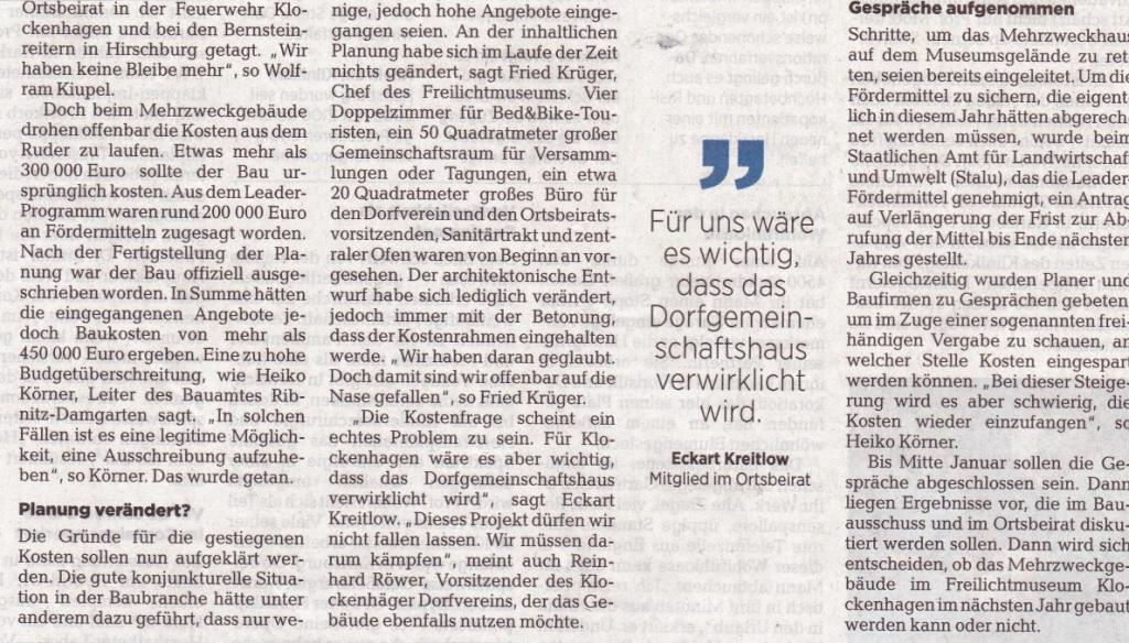 OZ-Beitrag vom 20.12.2019 - Ostsee-Zeitung Ribnitz-Damgarten - Freitag, 20.12.2019 | Seite 11 - Klockenhagen: Aus für das Mehrzweckhaus? Explosion der Baukosten stellt Vorhaben für das Freilichtmuseum infrage / Ausschreibung wurde aufgehoben - Autor: Robert Niemeyer