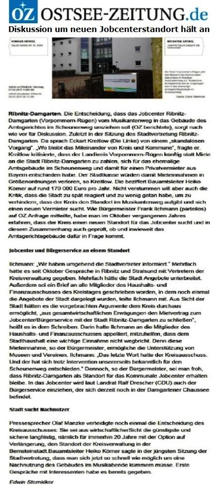 Diskussion um neuen Jobcenterstandort hält an - Pressesprecher verteidigt Entscheidung des Kreisausschusses für Umzug ins Amtsgerichtsgebäude - Beitrag der Ostsee-Zeitung Ribnitz-Damgarten zum Umzug des Jobcenters ins ehemalige Amtsgerichtsgebäude im Ribnitz-Damgartener Scheunenweg - OZ-Artikel veröffentlicht: Dienstag, 07.03.2017 11:00 Uhr - OZ-Artikel aktualisiert: Mittwoch, 08.03.2017 08:12 Uhr